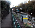 ST1477 : Electricity substation and footbridge, Fairwater railway station, Cardiff by Jaggery