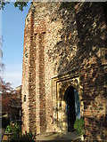 TL9925 : St. Martin's Church, West Stockwell Street, CO1 - tower and west entrance (2) by Mike Quinn