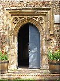 TL9925 : St. Martin's Church, West Stockwell Street, CO1 - west door by Mike Quinn