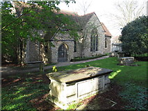 TL9925 : St. Martin's Church, West Stockwell Street, CO1 - south side and churchyard by Mike Quinn