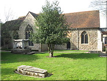 TL9925 : St. Martin's Church, West Stockwell Street, CO1 - south side and churchyard (2) by Mike Quinn