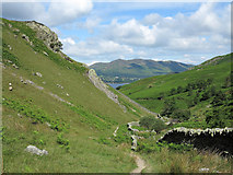 NY1618 : Wall and path below Rannerdale Knotts by Trevor Littlewood