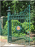 SK3770 : Chesterfield - Queen's Park - gate at southern entrance by Dave Bevis