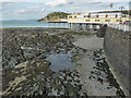 SN5881 : Rock strata on beach, Aberystwyth, Ceredigion by Christine Matthews
