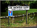 SU3716 : Joe Bigwood Close sign by Adrian Cable