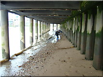 TQ3180 : View along the underside of the South Bank from the Thames Beach #2 by Robert Lamb