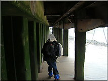 TQ3180 : View along the underside of the South Bank from the Thames Beach #3 by Robert Lamb