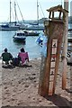 SX9372 : Flood gauge, back beach, Teignmouth by Robin Stott