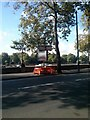 TQ2877 : Temporary road sign on Chelsea Embankment by PAUL FARMER