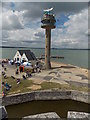 SU4802 : Calshot: the lifeboat and coastguard stations from the castle by Chris Downer