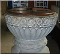 SP8510 : Weston Turville - St.Mary's - Font - bowl and carving by Rob Farrow