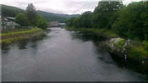 NN9357 : River Tummel at Pitlochry by Mike Pennington