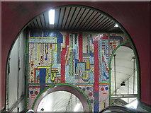 TQ2981 : Tottenham Court Road tube station - Paolozzi mosaic, escalators (3) by Mike Quinn