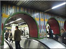 TQ2981 : Tottenham Court Road tube station - Paolozzi mosaic, escalators (5) by Mike Quinn