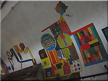 TQ2981 : Tottenham Court Road tube station - Paolozzi mosaic, Central Line (10) by Mike Quinn