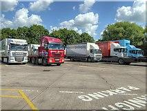 SJ7760 : Lorry Park at Sandbach Services (M6 Southbound) by David Dixon