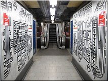 TQ2981 : Tottenham Court Road tube station - Paolozzi mosaic, Northern Line (18) by Mike Quinn