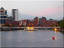 SJ8097 : Bridge across Dock 9 at Salford Quays by Rod Allday