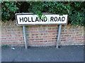 TQ7564 : Vintage street nameplate, Holland Road, Chatham by Chris Whippet