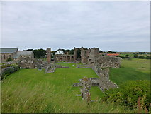 NU1241 : Lindisfarne Priory from the observation tower on Holy Isle by Raymond Knapman