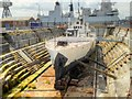 SU6200 : HMS M33 in Dry Dock at Portsmouth Historic Naval Dockyard by David Dixon