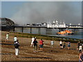 TV6198 : RNLI Lifeboats fire fighting at Eastbourne Pier by PAUL FARMER