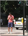 TQ2782 : Finding his way with a phone, corner of Melcombe Street and Gloucester Place by Robin Stott