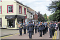 SP9211 : The Band take up position in Tring High Street by the Memorial Garden by Chris Reynolds