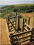 SX5646 : Gate on the coast path above Stoke Beach by Derek Harper