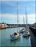 SY6878 : Pietertje2 arrives in Weymouth by Philip Pankhurst