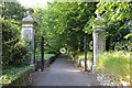 SX8670 : South side of gate pillars on a path to Forde House, Newton Abbot by Robin Stott