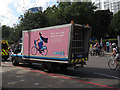 TQ3380 : Barclays cycle hire - the pink van by Stephen Craven