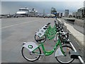 SJ3390 : City bikes on Liverpool waterfront by Steve  Fareham