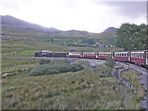 SH5752 : WHR train passing Ffridd-isaf by Roger Cornfoot