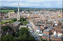 SO8454 : Worcester's Deansway viewed from the cathedral tower by Philip Halling