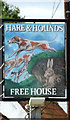 TM0735 : Hare & Hounds Public House sign by Adrian Cable