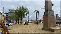 NZ2563 : The Quayside Seaside beside the River Tyne in Newcastle in August by Jeremy Bolwell