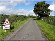 H6156 : Roadworks ahead, Lettery Road by Kenneth  Allen