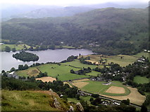 NY3307 : Overview of Grasmere - lake and village by Peter S