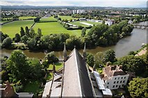 SO8454 : View to the west from Worcester Cathedral tower by Philip Halling