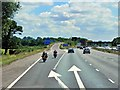 SP4642 : Southbound M40, Exit Sliproad at Junction 11 by David Dixon