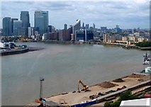TQ3980 : Emirates Cable Car - Thames view to Canary Wharf by Rob Farrow