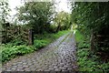 SK0186 : Cobbled lane at Wilde's Crossings by Graham Hogg