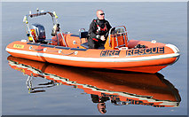 J3473 : Fire Brigade rescue boat, River Lagan, Belfast - September  2014(2) by Albert Bridge
