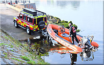 J3473 : Fire Brigade rescue boat, River Lagan, Belfast - September  2014(3) by Albert Bridge
