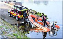 J3473 : Fire Brigade rescue boat, River Lagan, Belfast - September  2014(3) by Albert Bridge