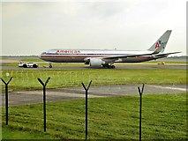 SJ8184 : American Airlines Boeing 767 at Manchester Airport by David Dixon