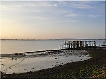 TQ7178 : Derelict jetty on the Thames shore above Lower Hope Point by Stefan Czapski