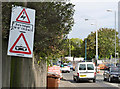 SK5636 : Warning sign at Wilford Lane tramway crossing by Alan Murray-Rust