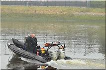 J3473 : Police boat, River Lagan, Belfast (September 2014) by Albert Bridge